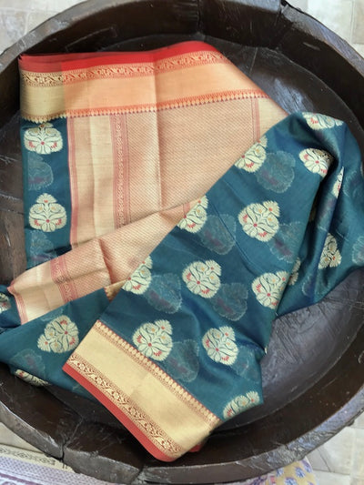 Peacock Blue Booti Cotton Saree