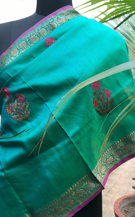Afreen Peacock Blue Tussar Sari