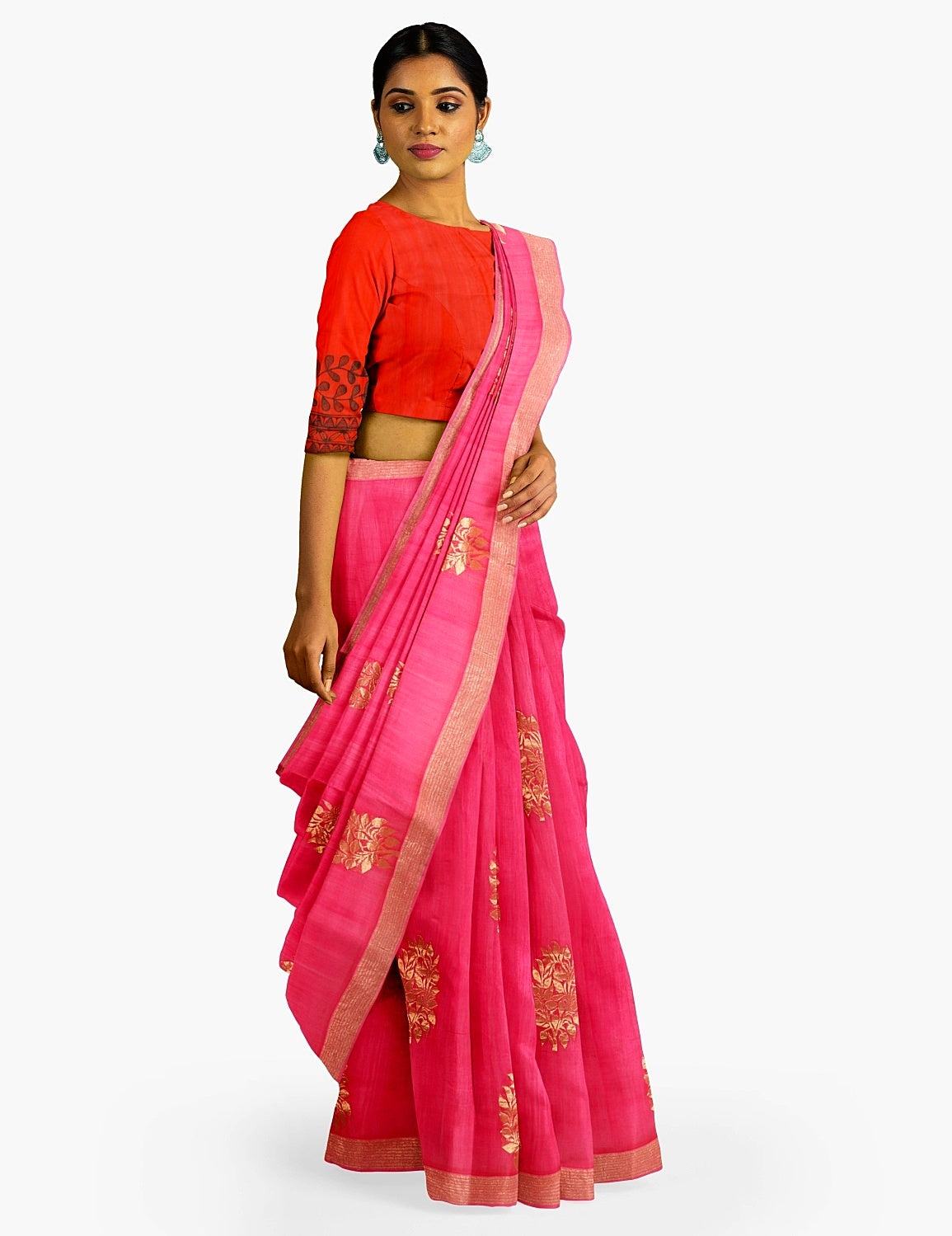 Pink Cotton Chanderi Saree