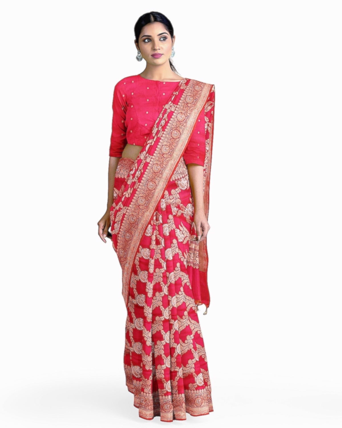 Short Pink Jangla Silk Saree