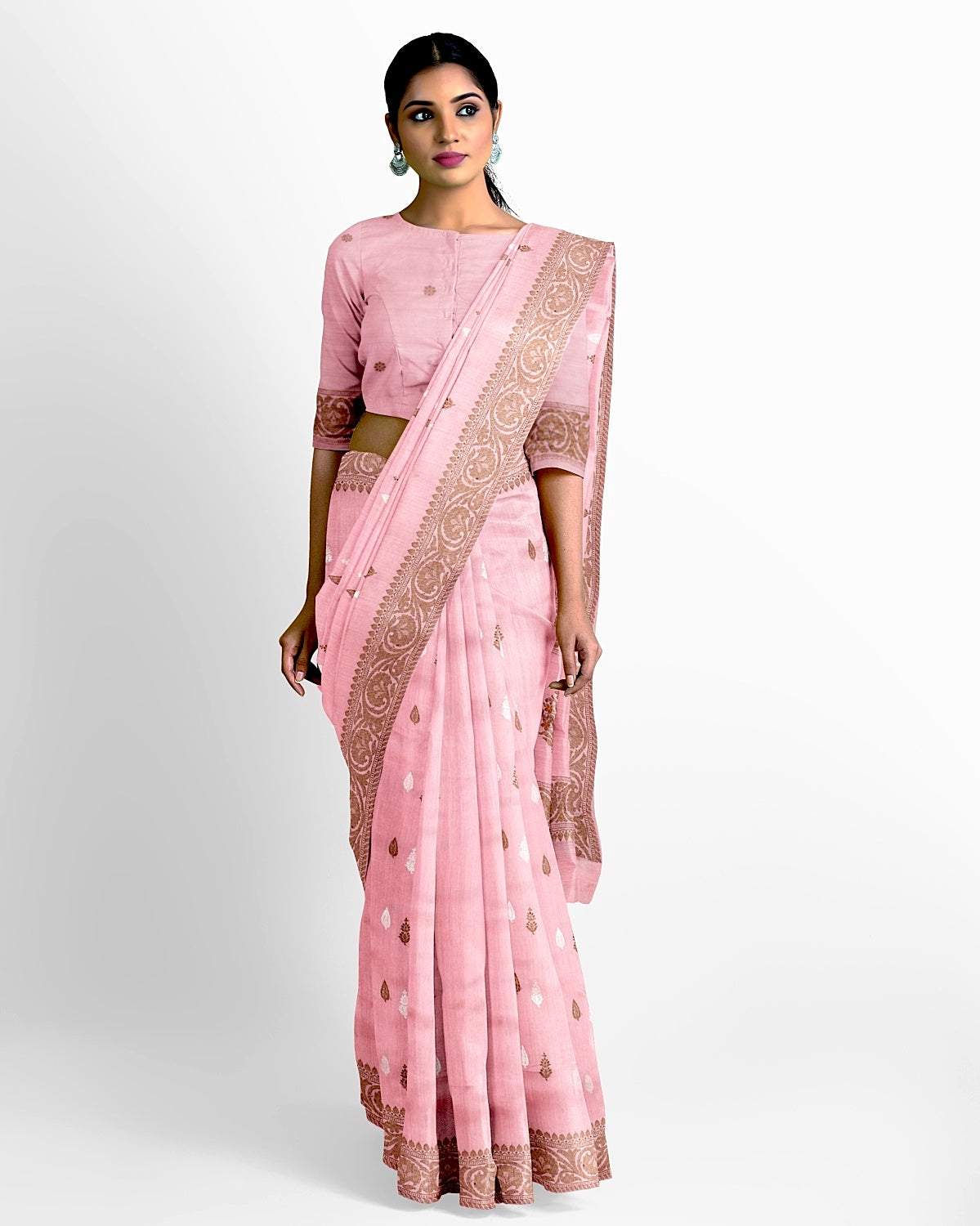 Salmon Pink Matka Georgette Saree