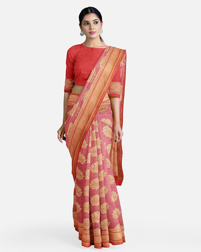 Blush Pink Moonga Silk Saree