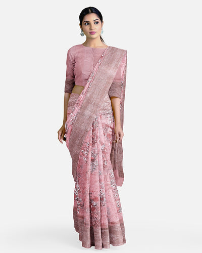 Peach Dupion Silk Saree