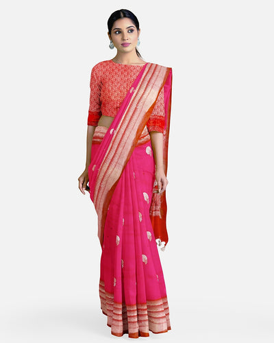 Pink & Red Soft Silk Saree