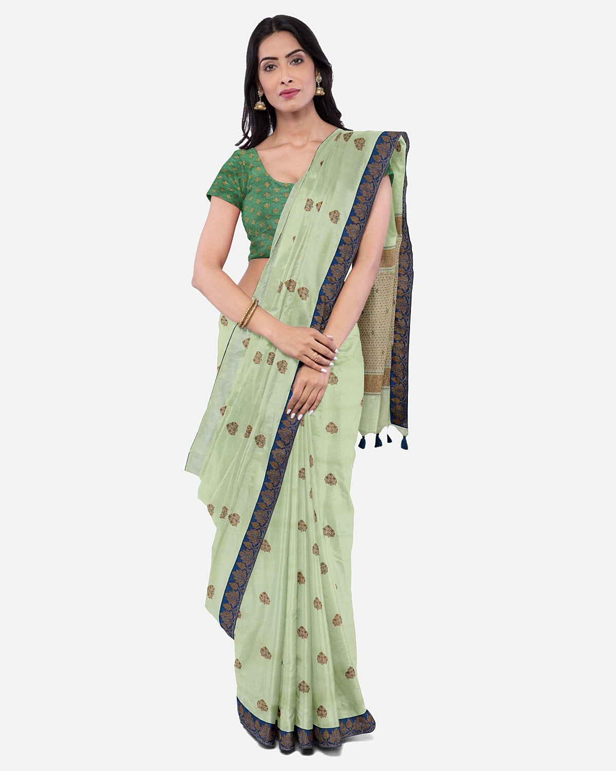 Pista Green Silk Matka Booti Saree