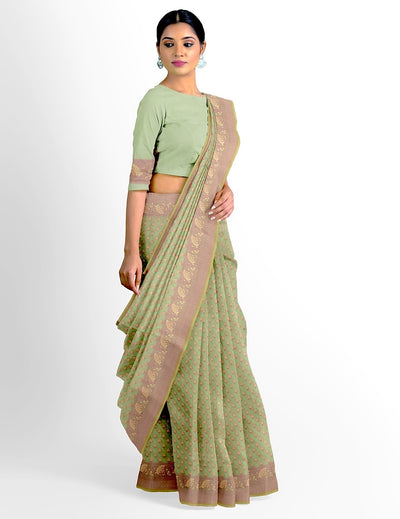 Green Cotton Cutwork Saree