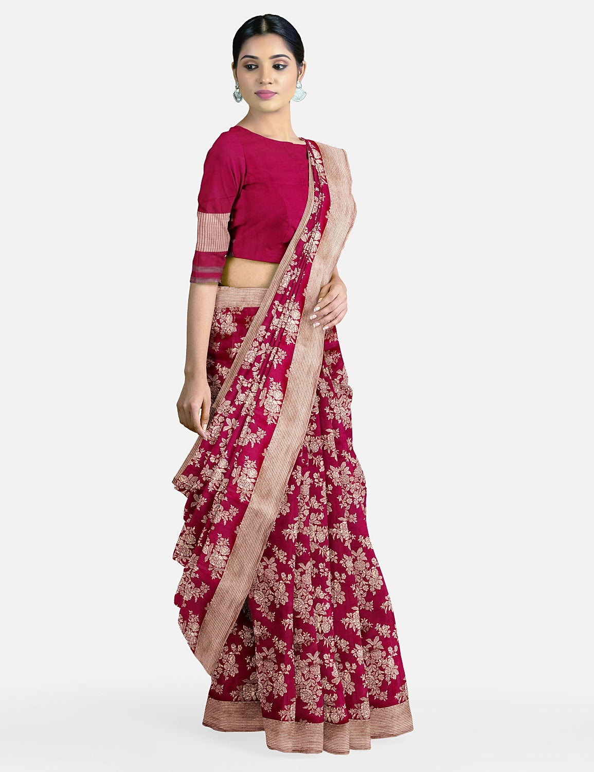 Burgundy Plum Scalloped Border Silk Saree