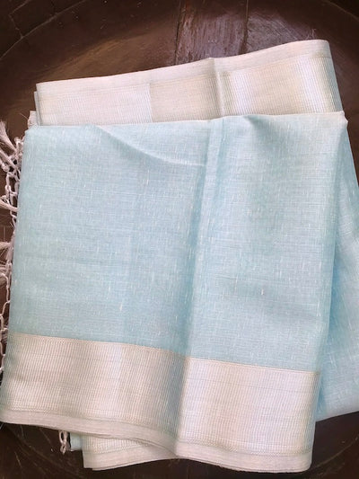 Powder Blue Tissue Linen Saree