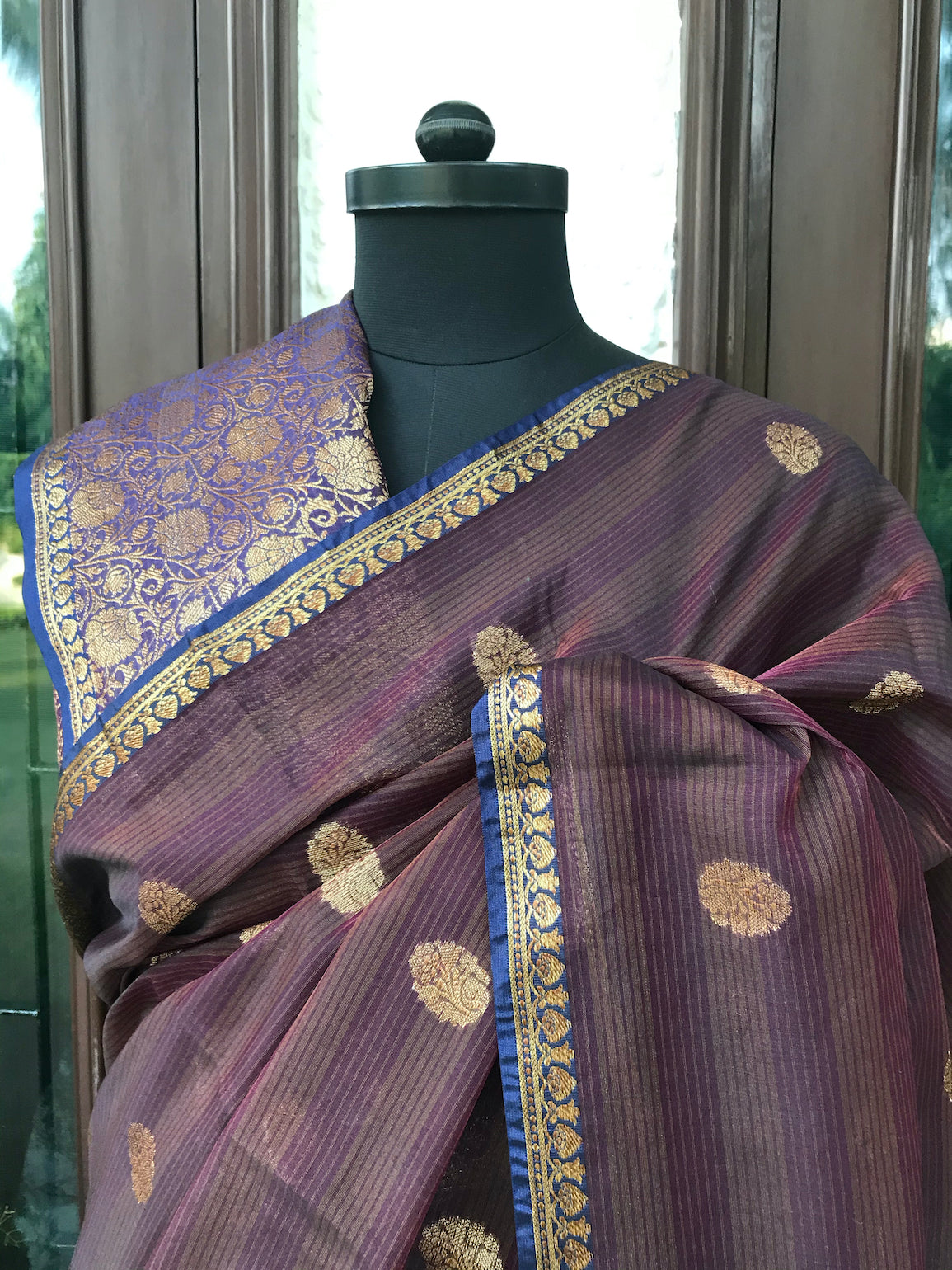 Purple & Brown Cotton Saree