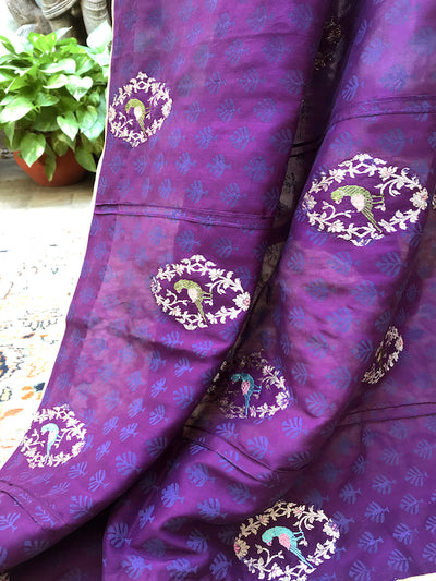 Purple Katan Silk Birds of Paradise Dupatta