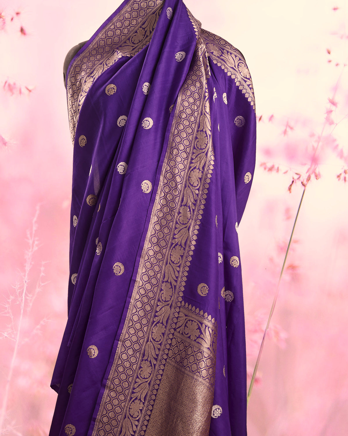 Purple Chandbala Soft Silk Saree