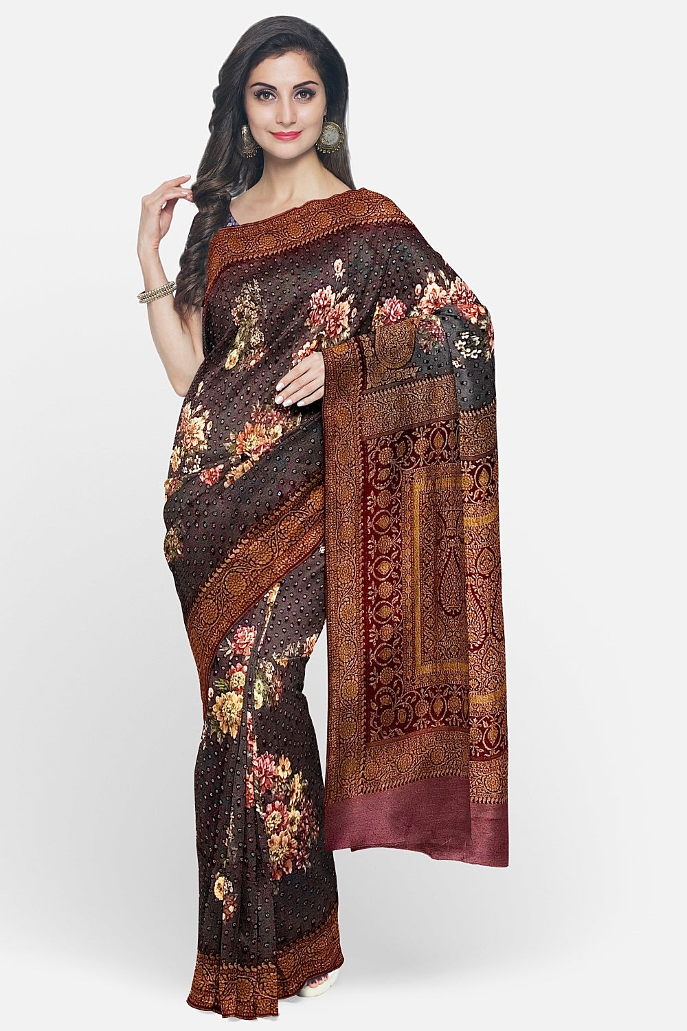 Purple Printed Georgette Saree