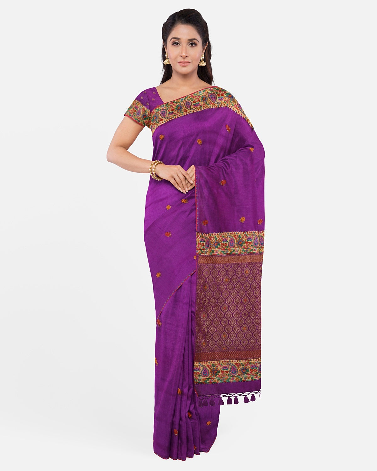 Purple Silk Matka Kashmiri Saree