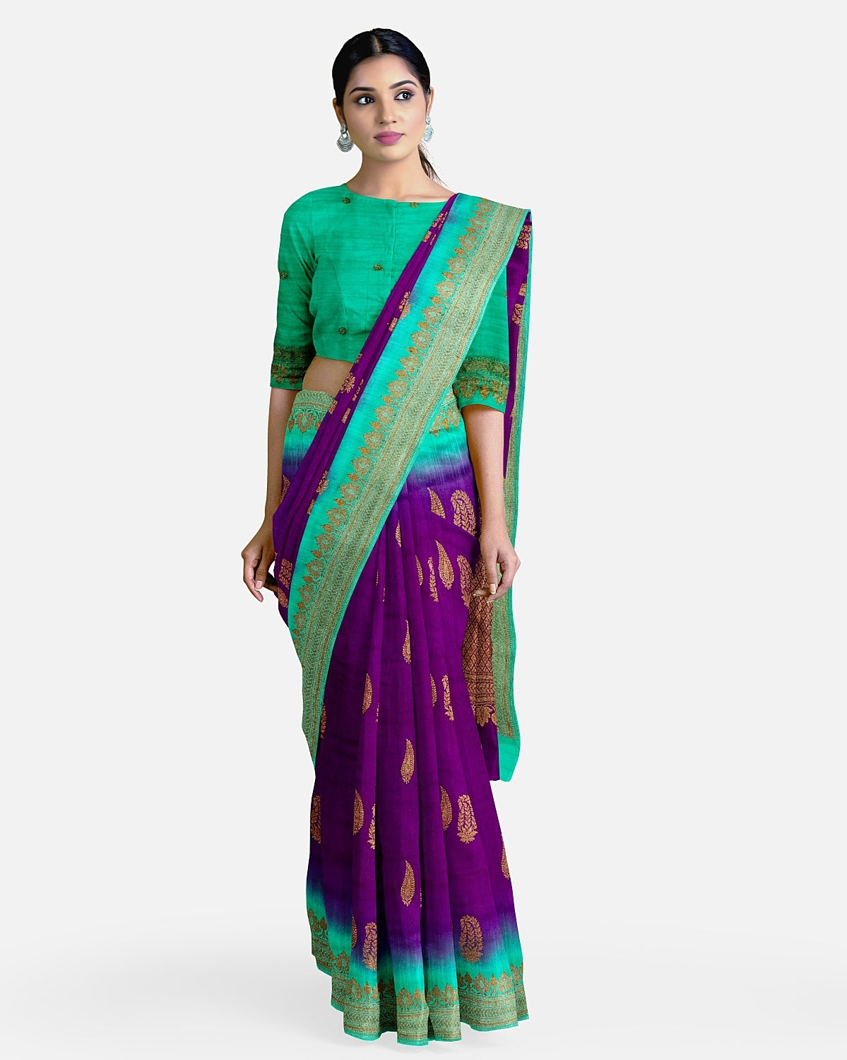 Purple & Sea Green Matka Georgette Border Booti Saree