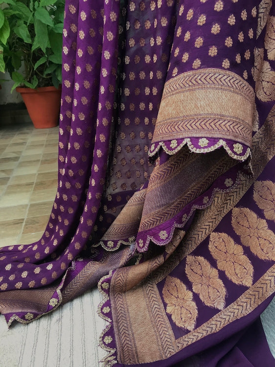 Purple Scalloped Chiffon Sari