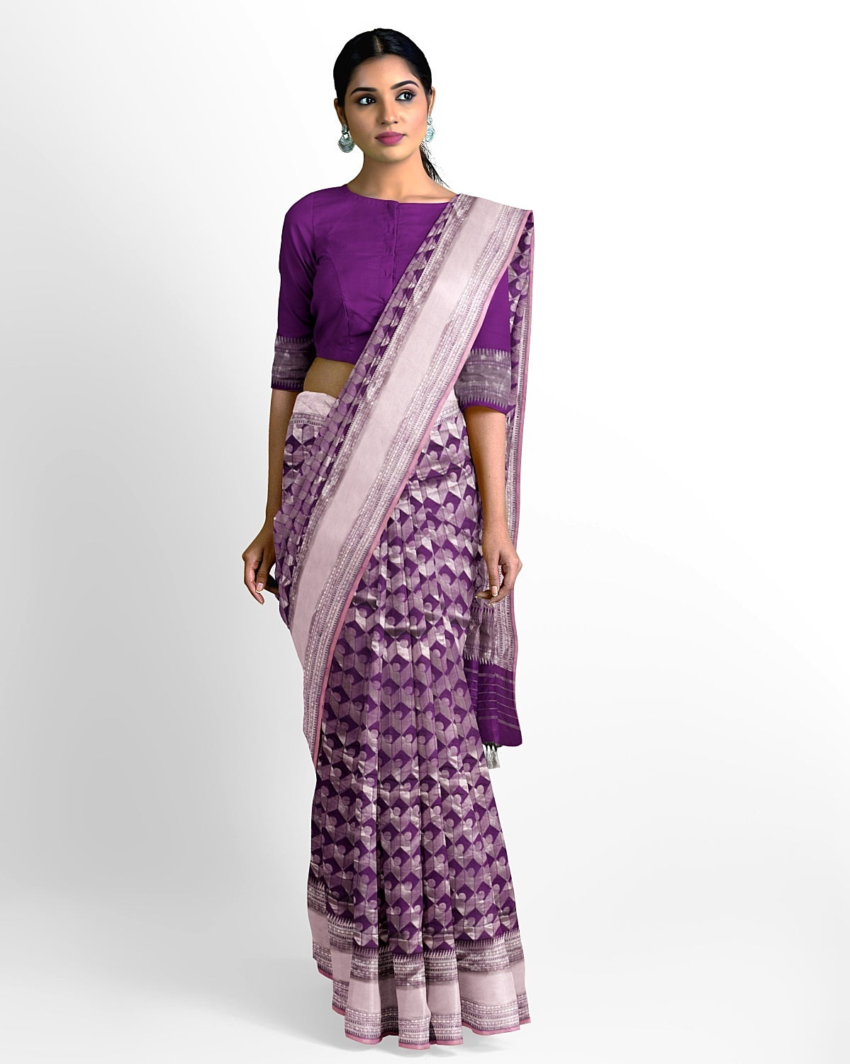 Purple and Silver Silk Saree