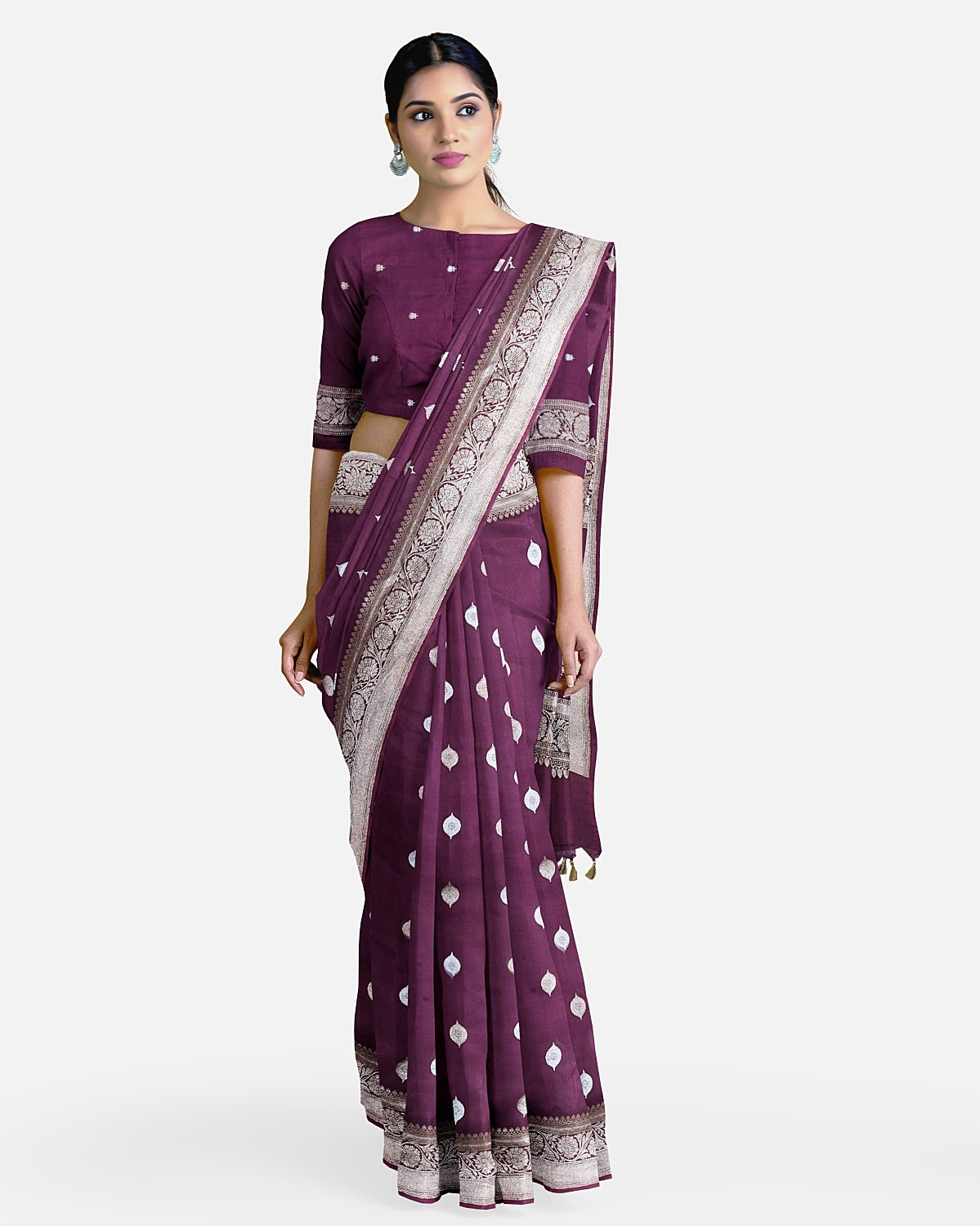 Dark Purple Soft Silk Saree