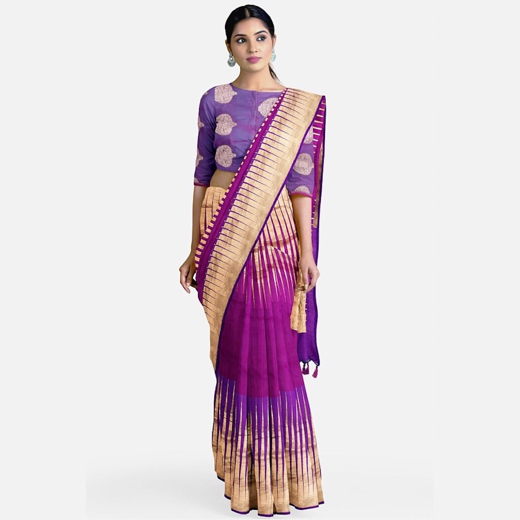 Purple Silk Temple Saree