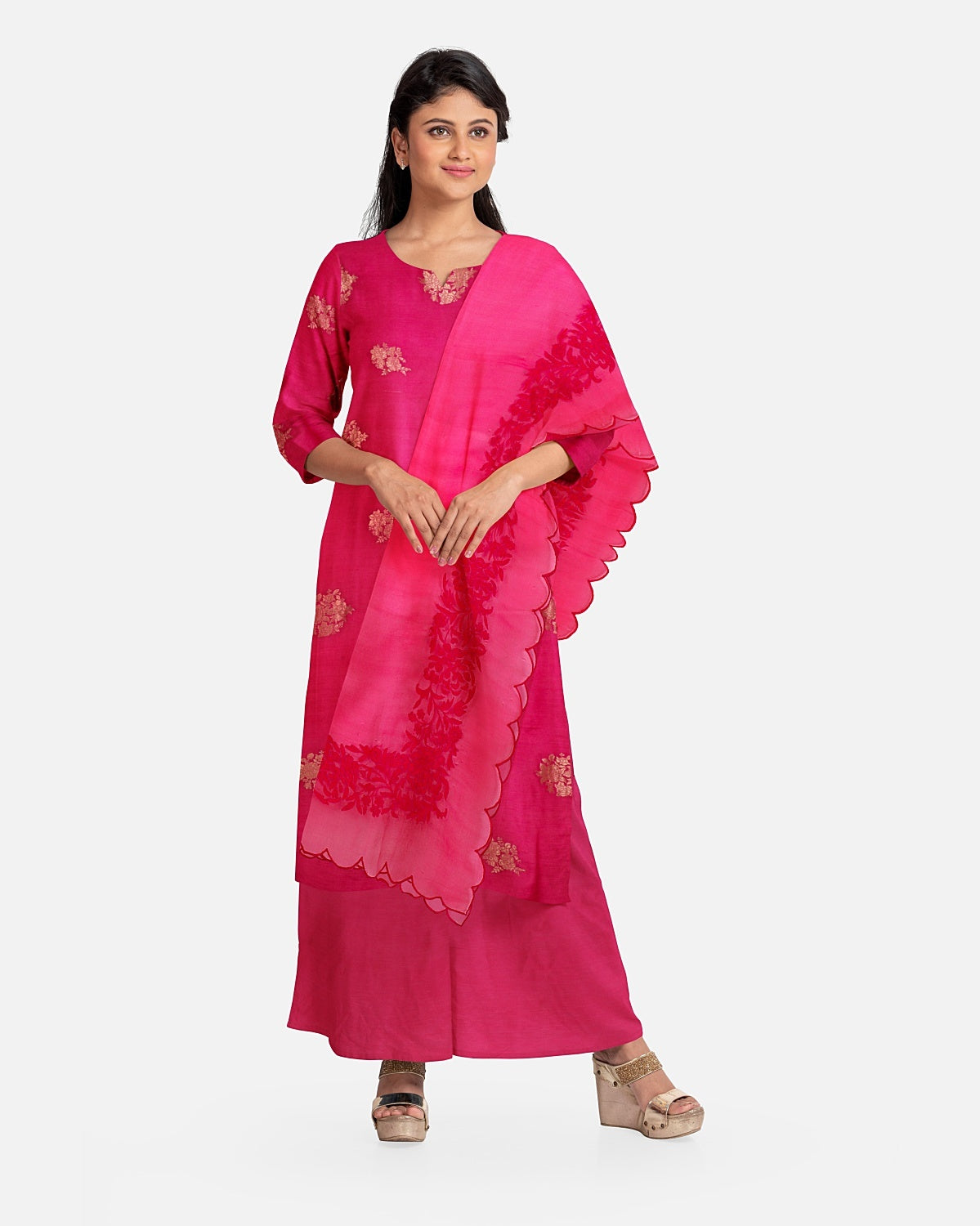 Rani Pink Zari Georgette Suit Fabric Set