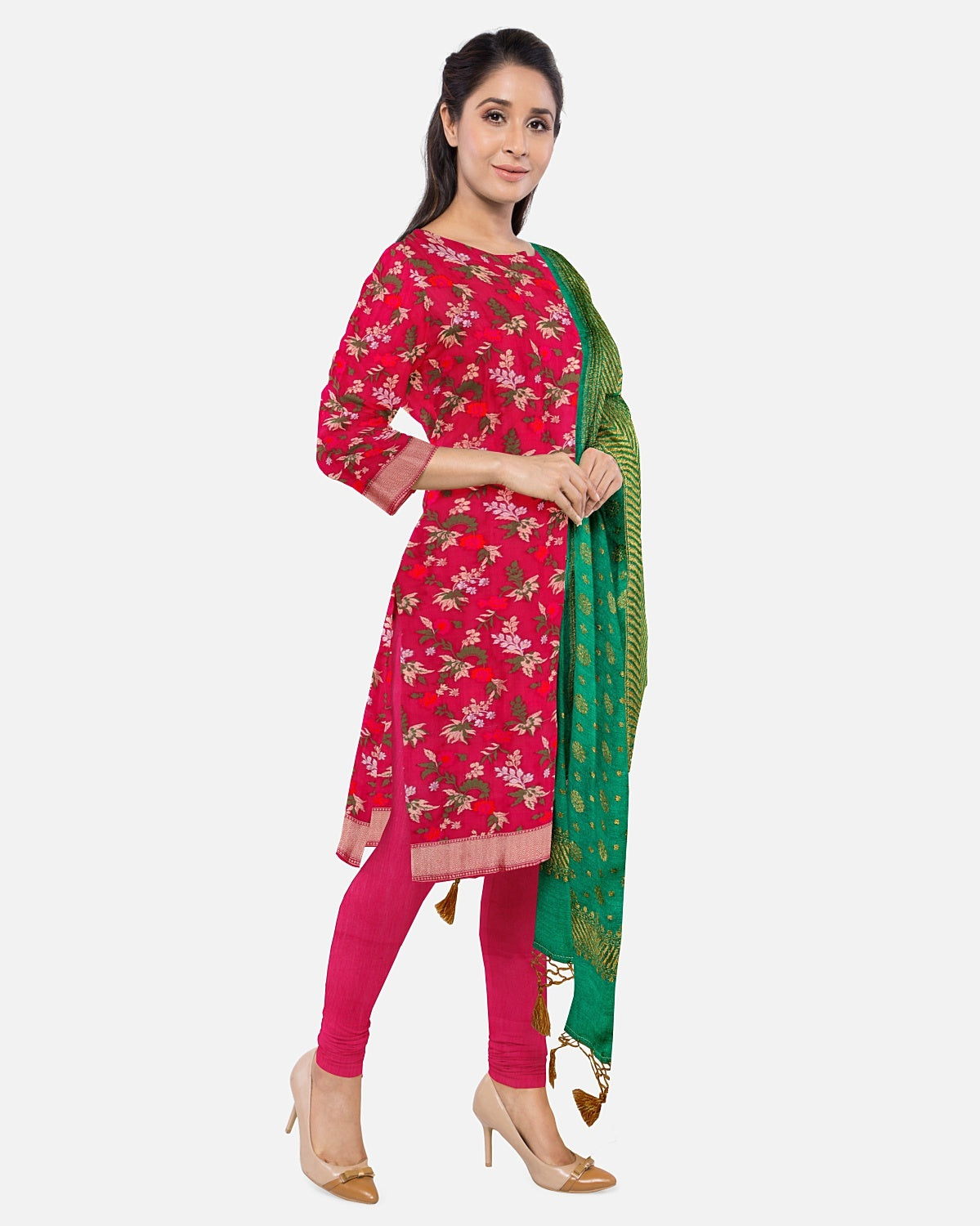 Rani Pink Silk Brocade Suit Fabric Set