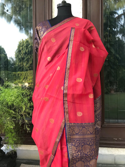Red & Blue Cotton Saree