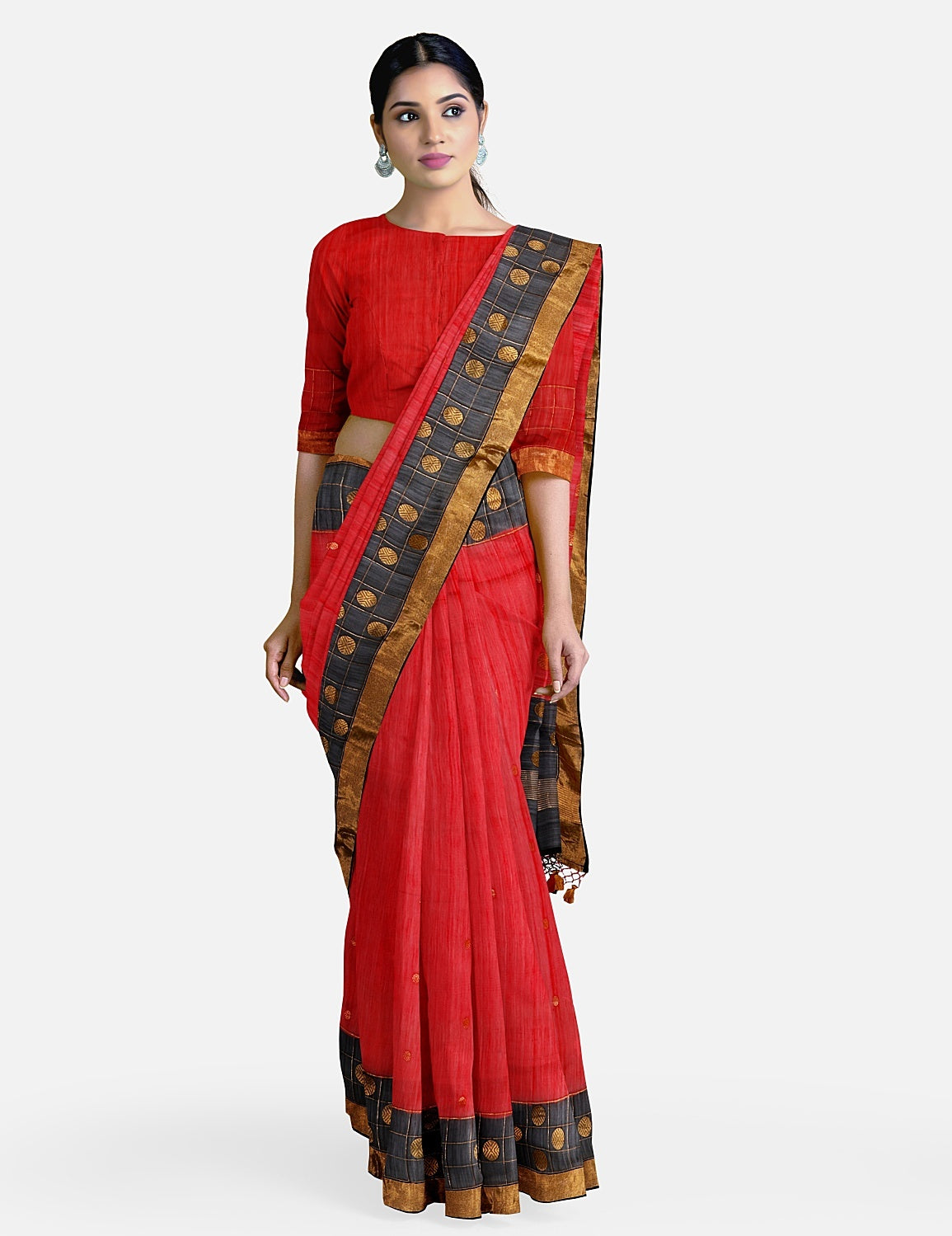 Red Black Cotton Chanderi Saree