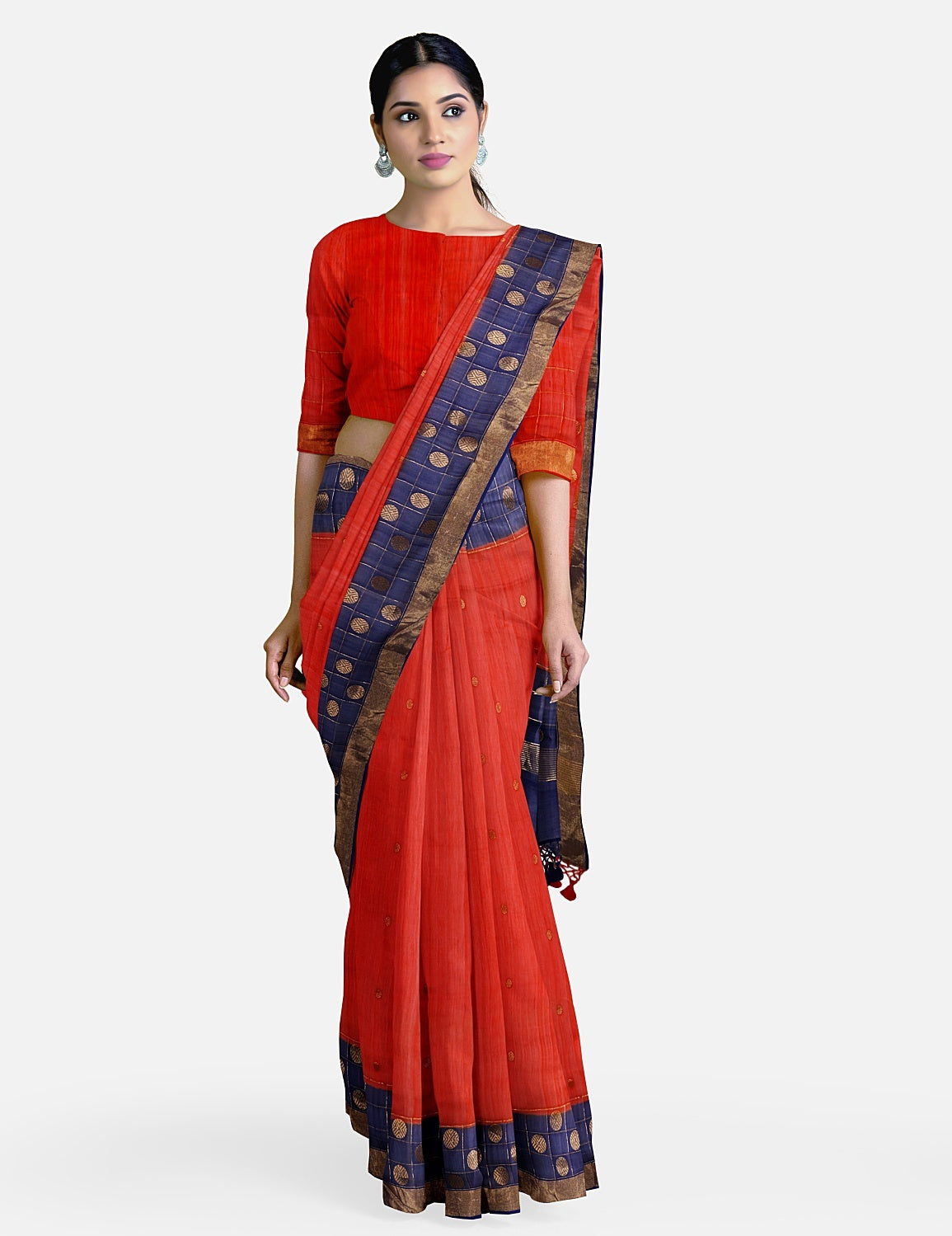 Red Blue Cotton Chanderi Saree