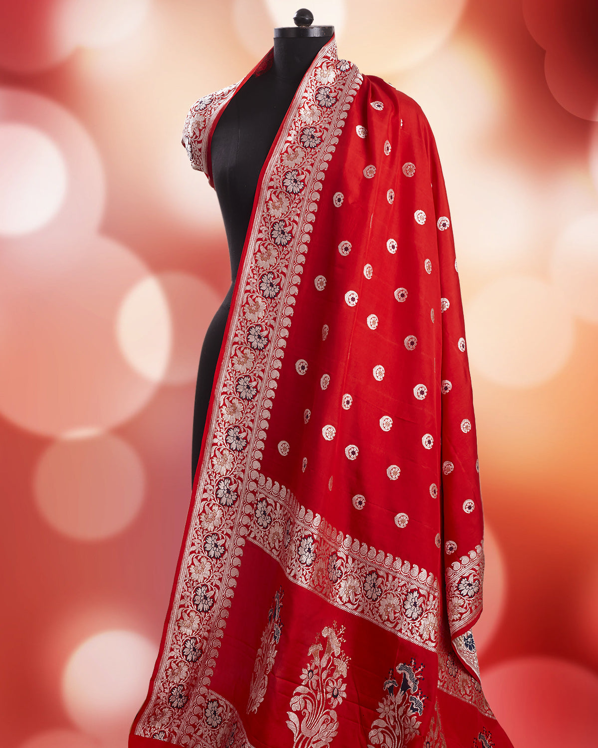 Red Chandbala Soft Silk Saree