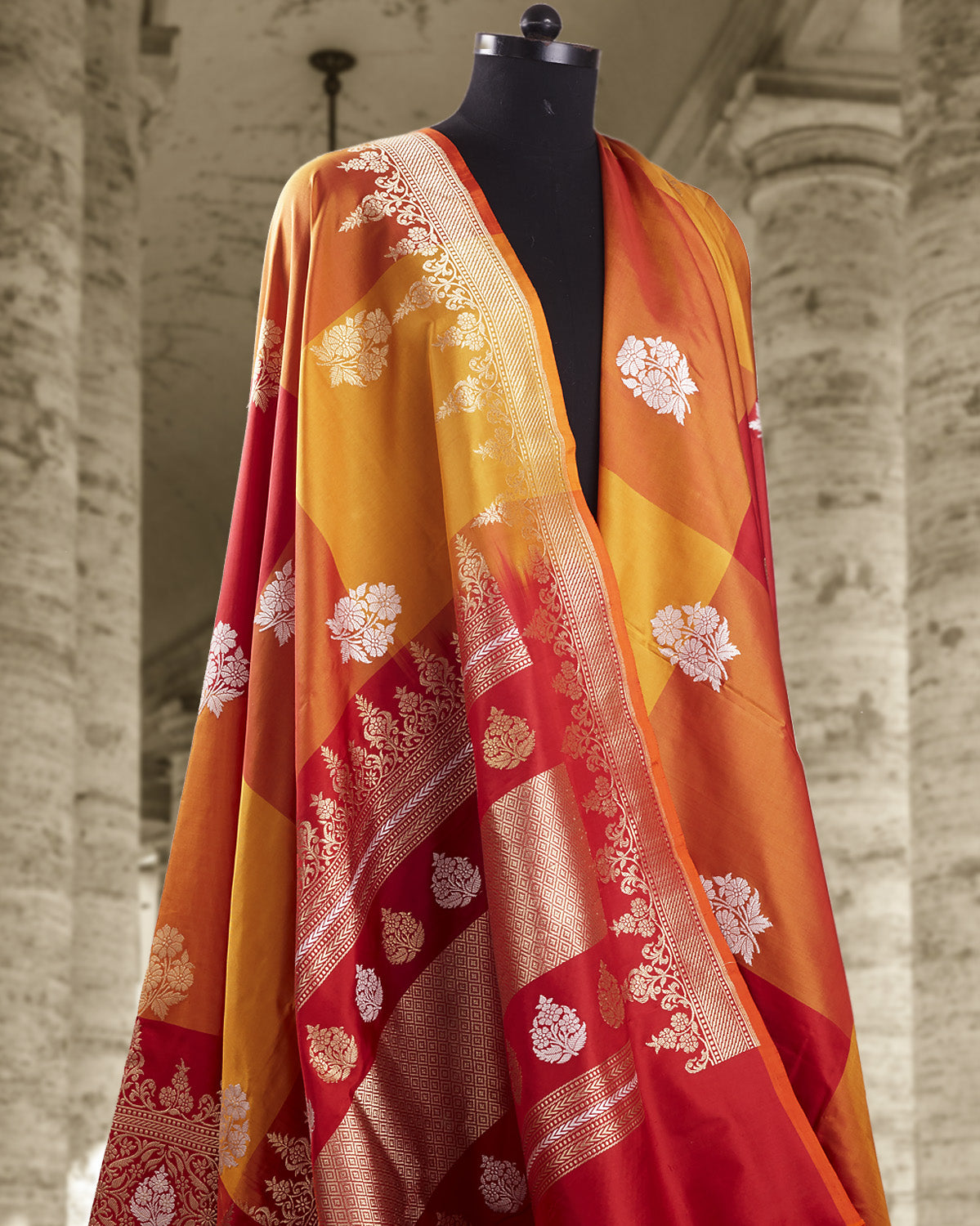 Smeared Vermillion Checks Katan Silk Saree