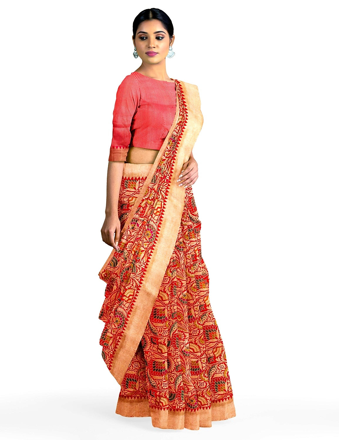 Red Scalloped Border Silk Saree