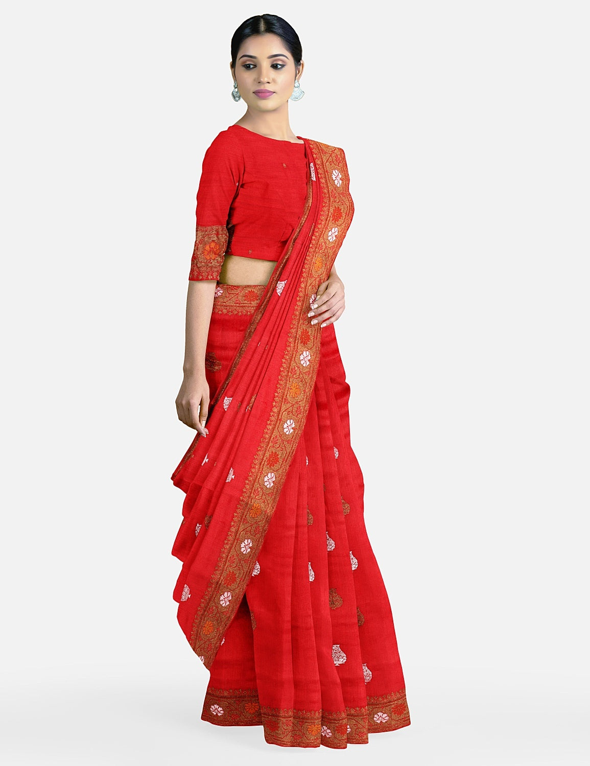 Red Matka Georgette Saree
