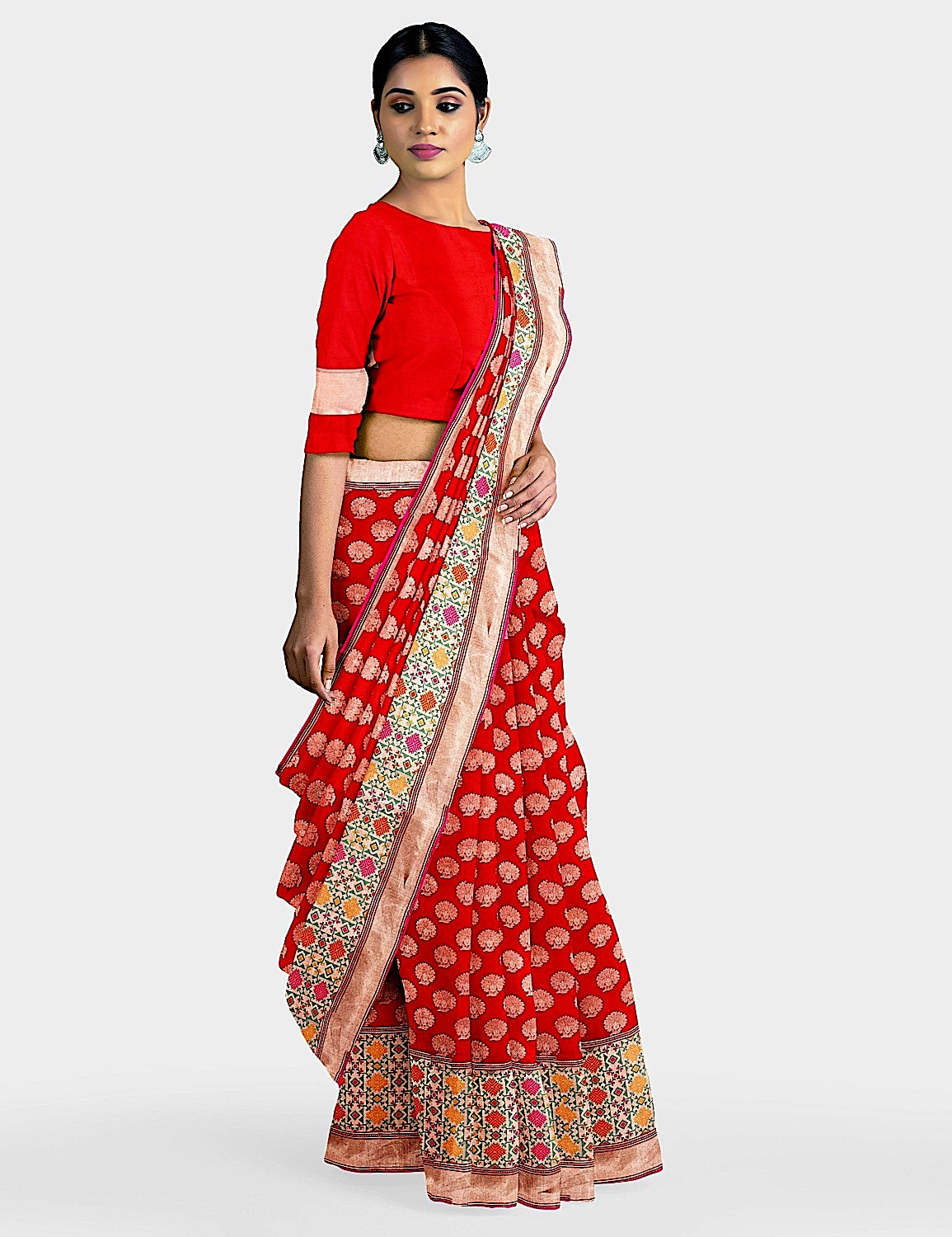 Chilly Red Phulkari Silk Saree