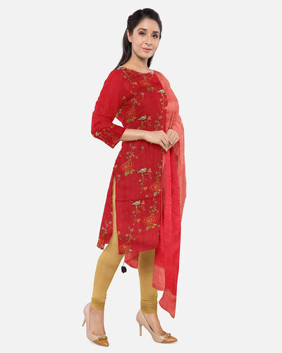 Red Embroidered Raw Silk Suit Fabric Set