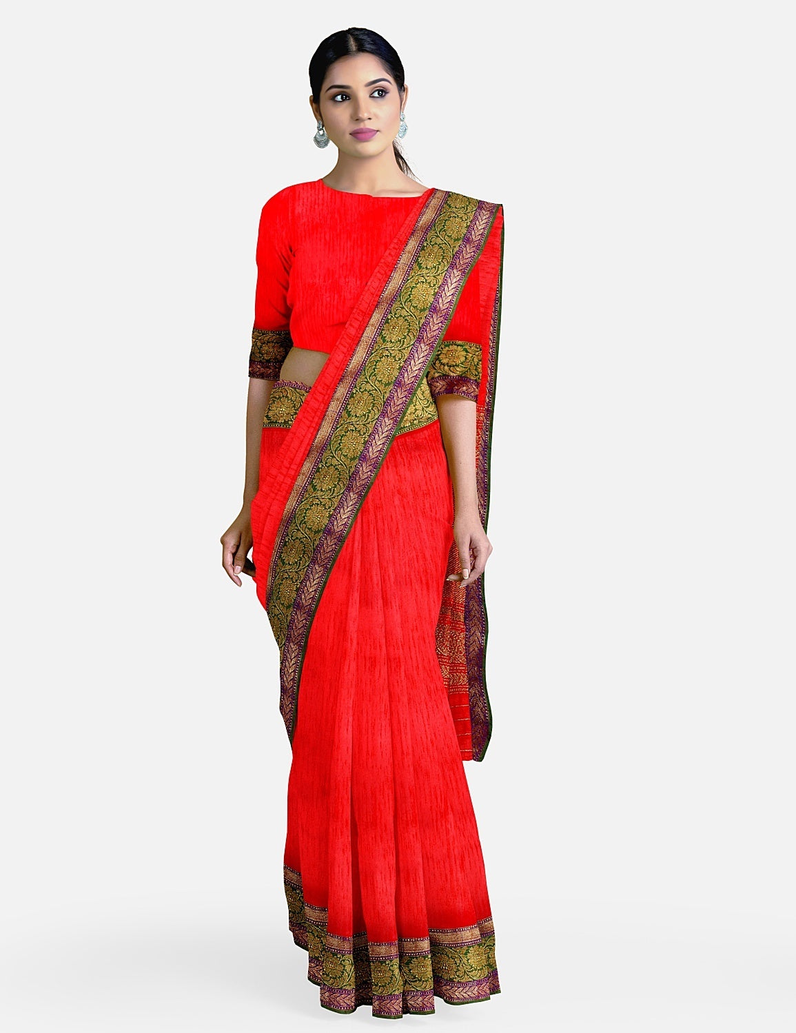 Red Dupion Silk Saree