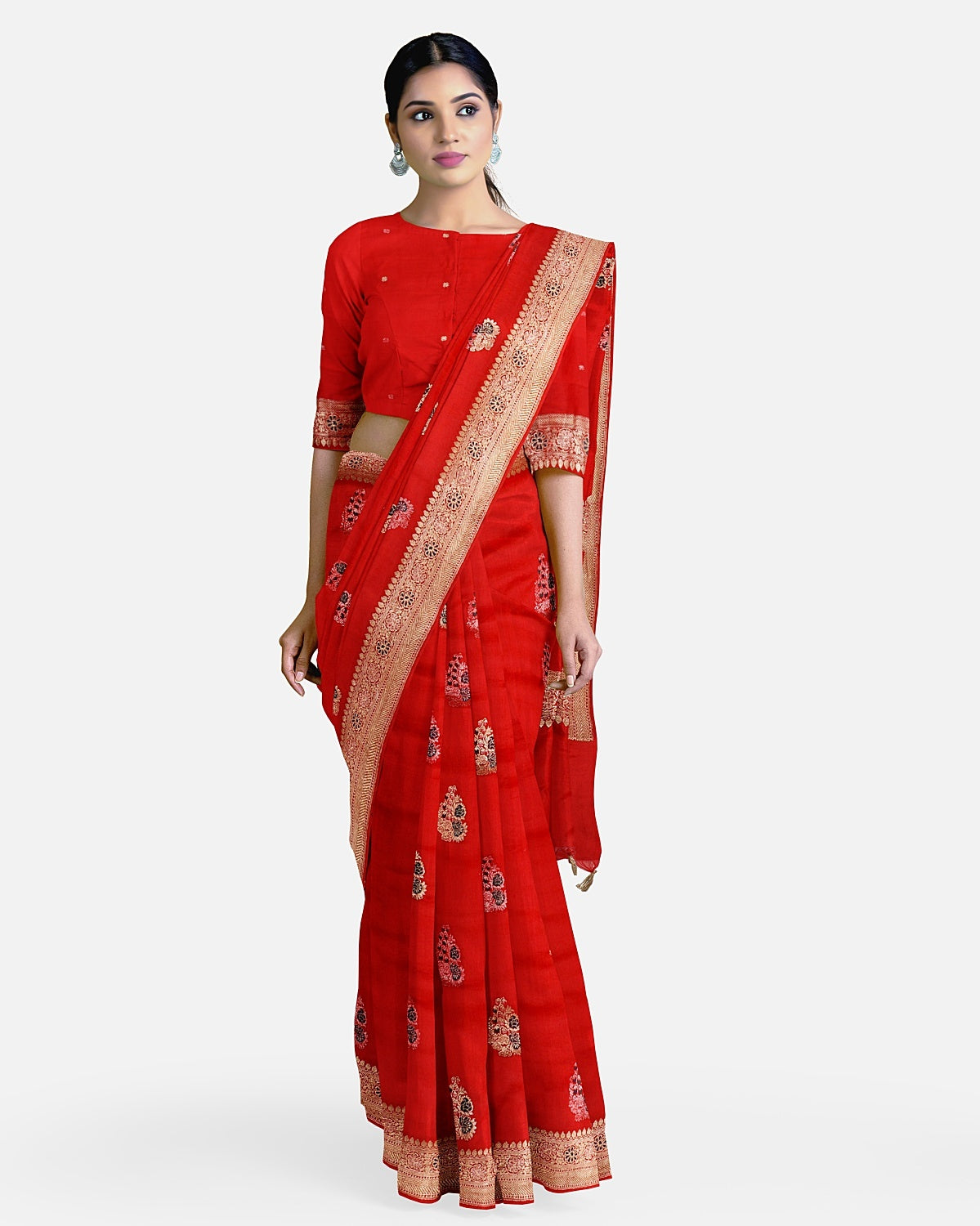 Blood Red Soft Silk Saree