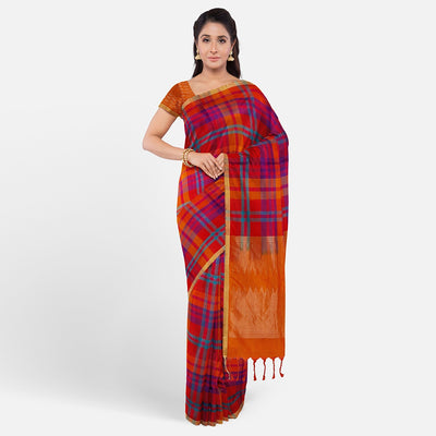 Multi Check Orange Uppada Silk Saree