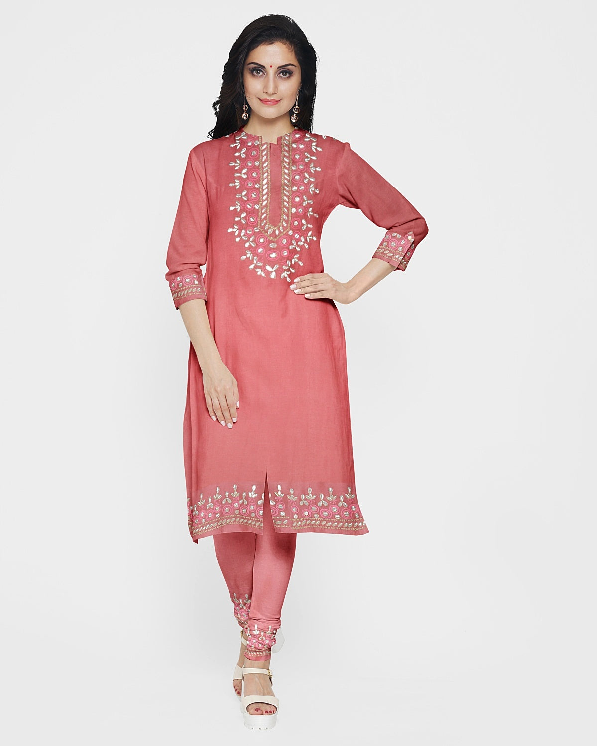 Rose Pink Gota Patti Suit Fabric Set