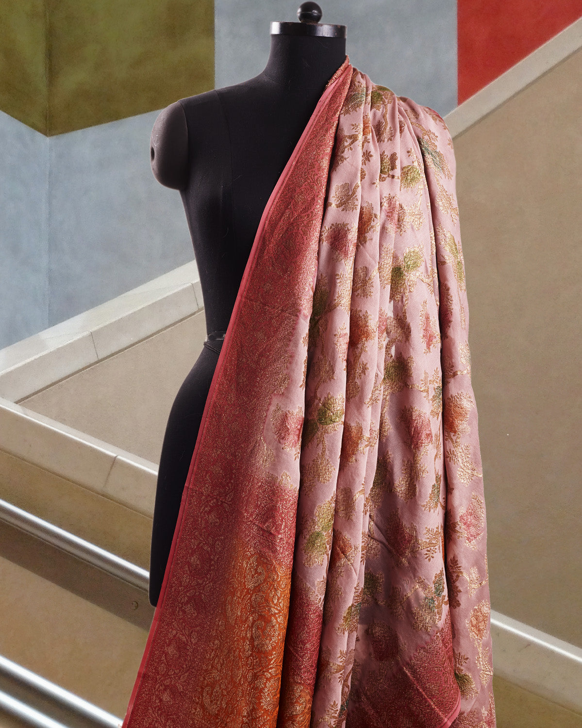 Burnt Rose Pink Georgette Sari