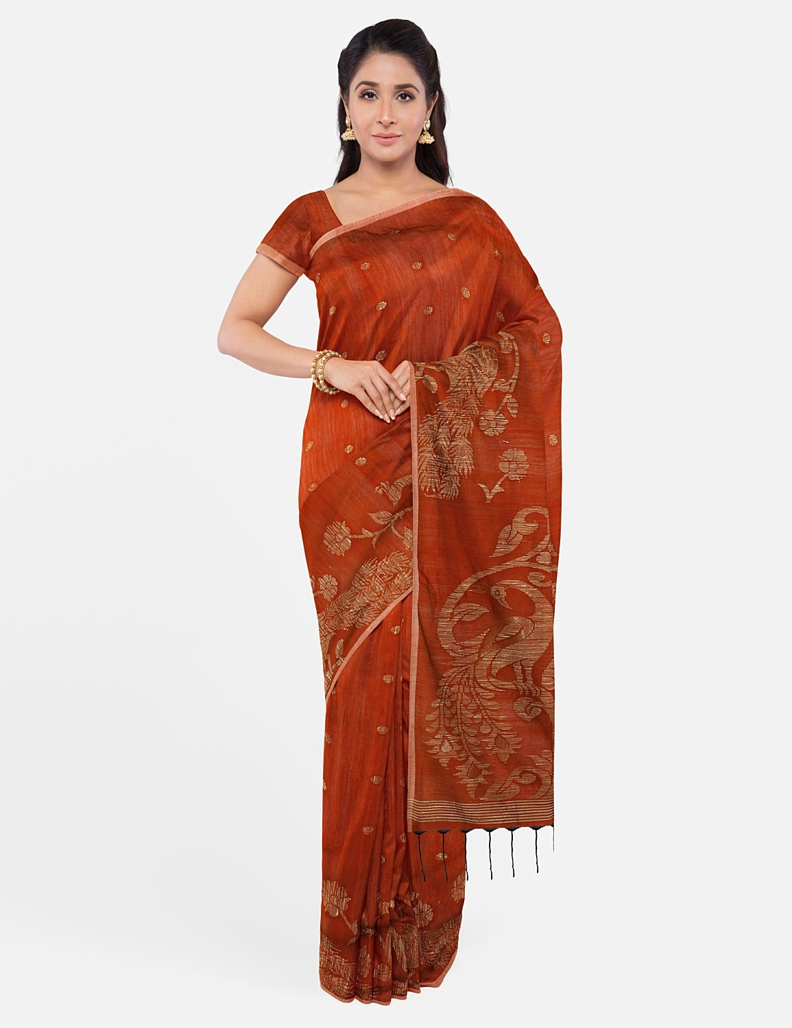 Rust Moonga Cotton Saree