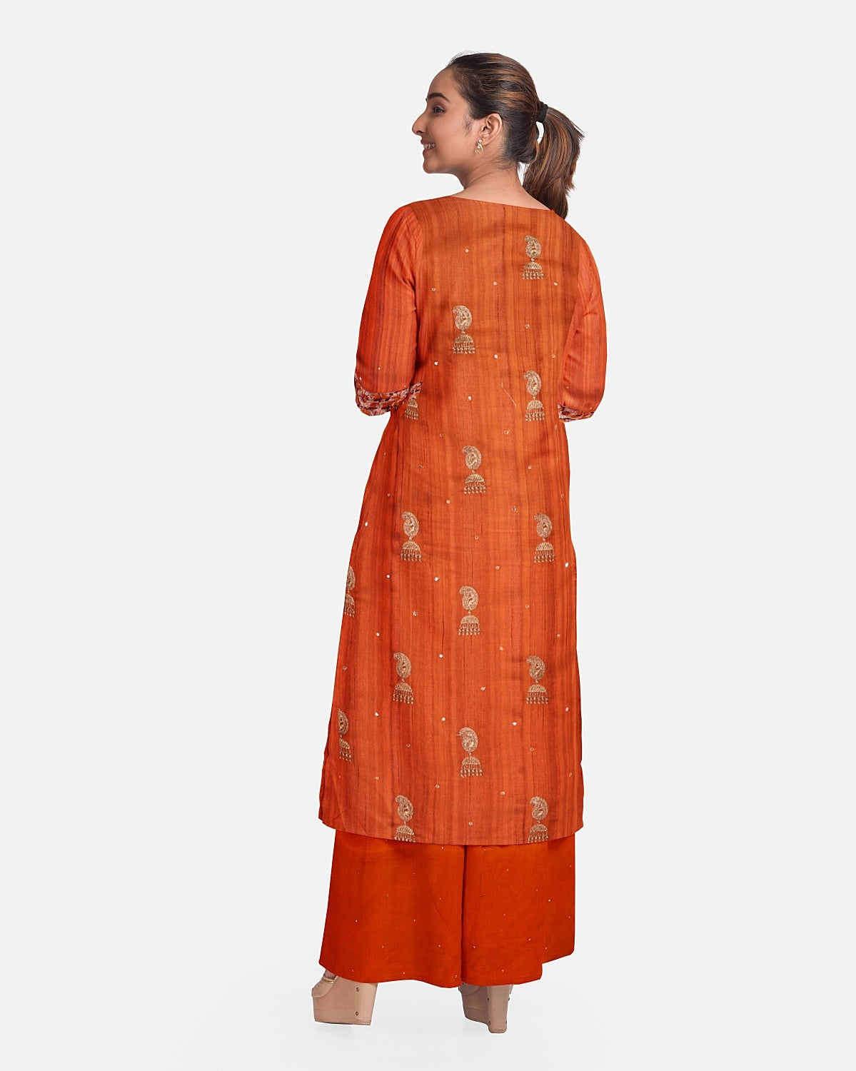 Rust Embroidered Raw Silk Suit Fabric Set
