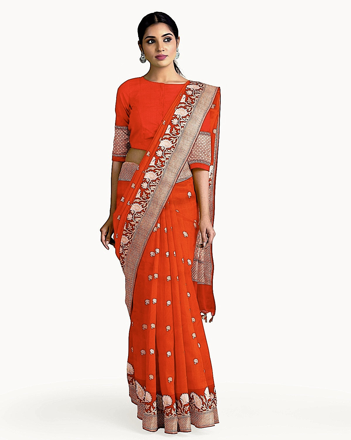 Burnt Orange Katan Silk Saree