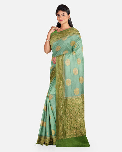 Sea Green Moonga Silk Saree