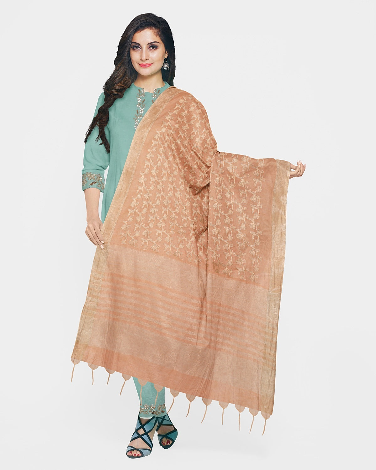 Sea Green & Peach Gota Patti Suit Fabric Set
