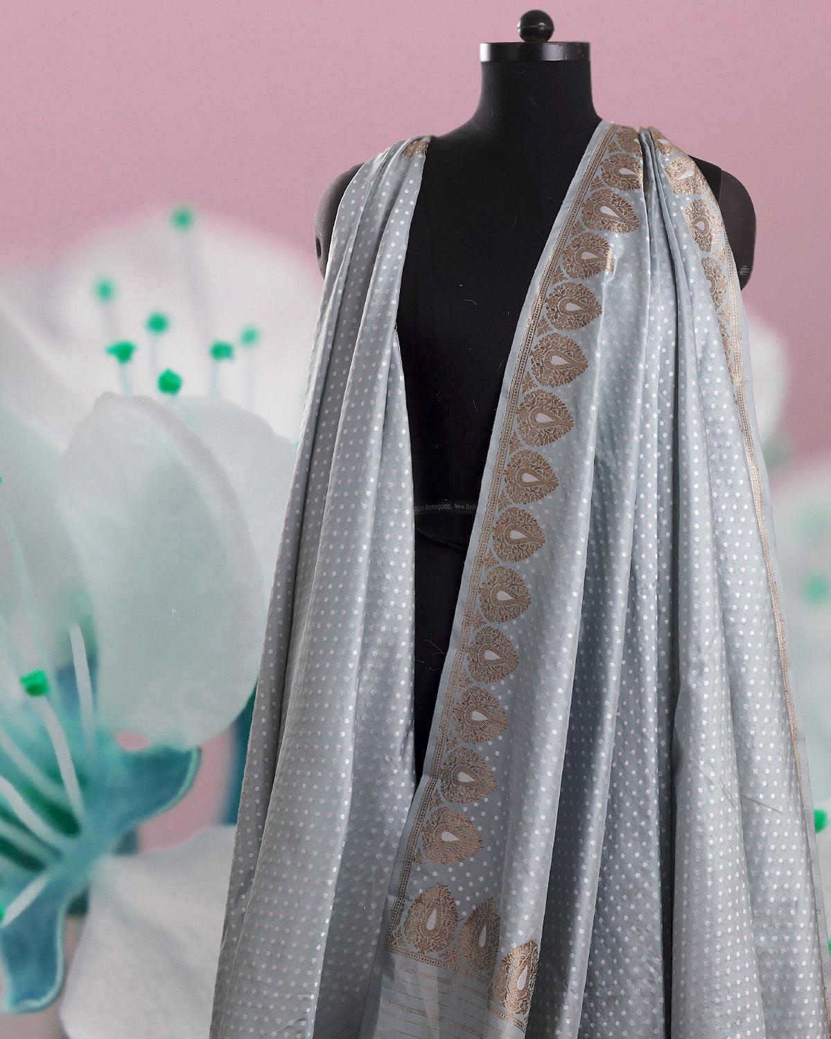 Silver Lake Polka Grey Katan Silk Saree