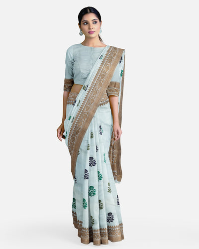 Sky Blue Matka Georgette Border Booti Saree