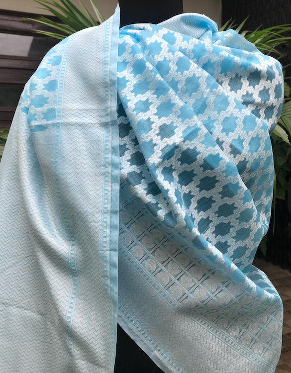 Sky Blue Cotton Cutwork Saree