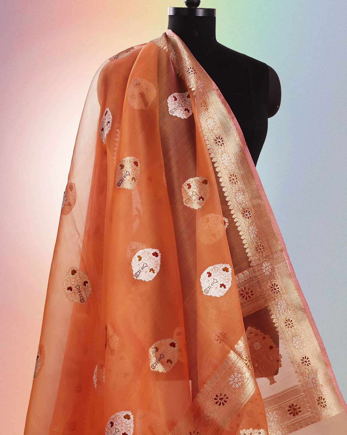 Squashed Grapefruit Organza Saree