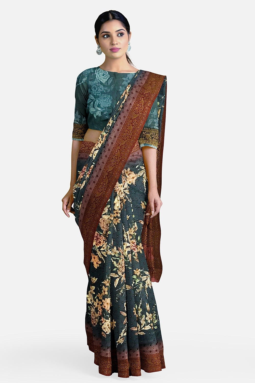 Teal Blue Printed Georgette Saree