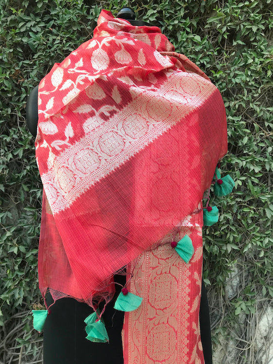 Terracota Red Cotton Jaal Dupatta