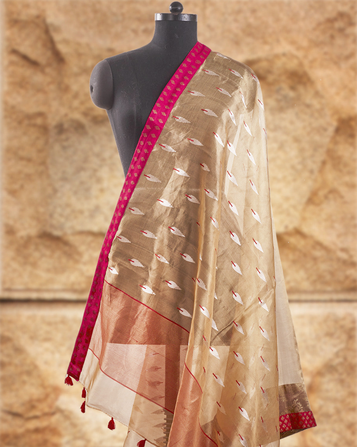 Whispering Willows Gold Tissue Saree